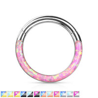 1pc Opal Front Edge Hinged Segment Ring Septum Clicker 316L Surgical Steel