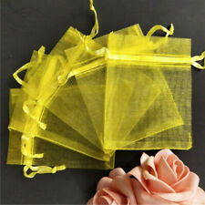 10pcs Drawstring Organza Bags Jewelry Pouches Wedding Party Gift Bag Yellow