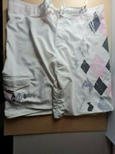 Rip Curl Size 38 Preowned White, Pink and grey Board Shorts