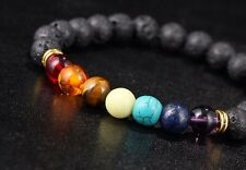 Seven Chakra, Meditation Diffuse Chakra Healing Lava Stone Bracelet USA SELLER