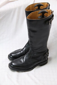 Goldtop Trophy Police Black Leather Motorcycle Boots Size 9 RRP £350
