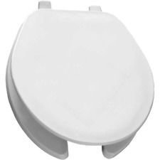 Bemis, Commercial Open Front Toilet Seat w/ Cover, Plastic, Round, White