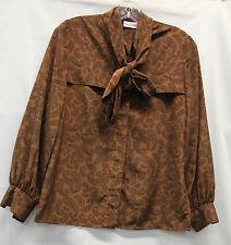 Oleg Cassini Womens Shirt Blouse Long Sleeve Brown Paisley 1970 to 1980s Size 6