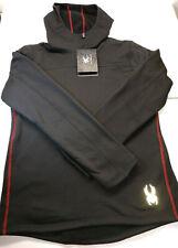 Men's Spyder SPM800 Pullover Stretch Fleece Layer Hoodie NWT MED Black MSRP $120