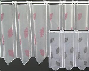 Scheibengardine Panneaux Stickerei Blätter schwarz o. pink Bistrogardine Voile