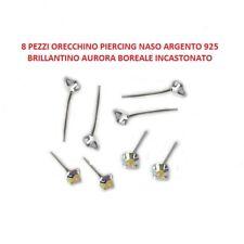 8 Orecchino Naso Piercing Naso Argento 925 Brillantino Aurora Boreale 2 mm
