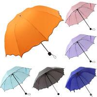 Women 3-Folding Compact Umbrella Windproof Anti-UV Rain Sun Travel Portable