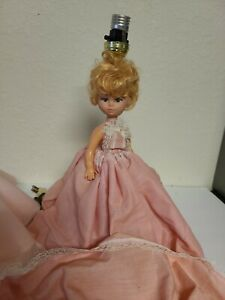 Vintage Doll Lamp With Pink Dress And Shade- Working Condition Very Rare EUC