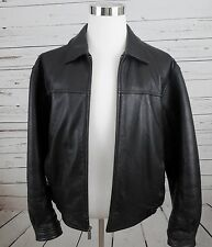 (L) * WILSONS LEATHER * Heavy Full Zip Black Bomber Style Coat-Jacket-Motorcycle