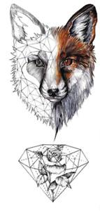 Red-eyed Wolf Temporary Tattoos Sticker Geometric Diamond Fake Waterproof Tatoos