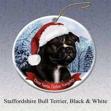 Holiday Pet Gifts Staffordshire Bull (Black & White) Dog Porcelain Ornament