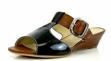 AGL Brown Leather Wedge Sandals 7225 Size 37 EU