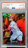 2018 Topps Fire FLAME Nationals JUAN SOTO Rookie Card PSA 10 GEM MINT Low Pop 17