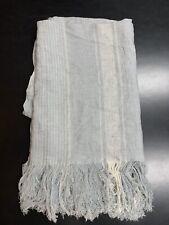 Restoration Hardware Rustic Linen Stripe Throw Mist Blue White 50X70 Retail $224
