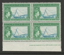 Gilbert & Ellice Is.1939-55 2/6d in block of four SG 53 Mnh.