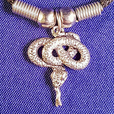 Tibetan Silver Snake Pendant with a Black Cord Choker Necklace Gift