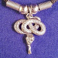 Serpiente de plata tibetana colgante con un cordón Negro Regalo Collar Gargantilla