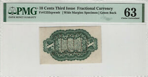 10 CENT THIRD ISSUE WIDE MARGIN SPECIMEN FRACTIONAL CURRENCY PMG CHOICE UNC 63