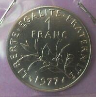 1 franc semeuse 1977 : FDC : pièce de monnaie française N378