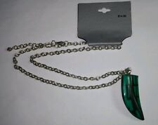 NEW GREEN BLACK FAUX ART TOOTH SILVER TONE NECKLACE