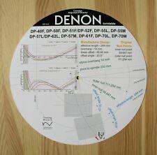 Denon DP-40F/50F/51F/52F/55L/57L/61F/62L/70L(M) Tonearm Alignment Protractor