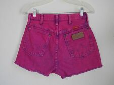 Vintage Wrangler High Waist Cut Off Pink Wash Womens Shorts Festival 7 Jeans 27""
