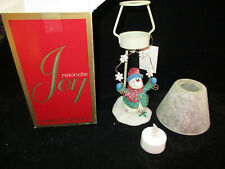 Yankee Candle Tea Light Holder W/Frosted Shade,Original Box,Snowman,Never Used