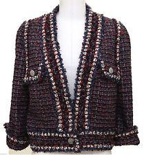 Chanel  Jacket Tweed Blazer Coat Navy Red White Classic Silver HW Top Sz 44 13C