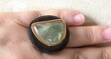 Wood, Gold Plated over Sterling Silver Size 7 Barse Ring, Genuine Olive Jade,