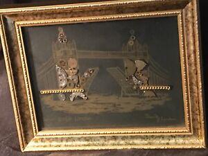 Signed DAVID OF LONDON (ORIGINAL) HOROLOGICAL MONTAGE TOWER BRIDGE LONDON Framed