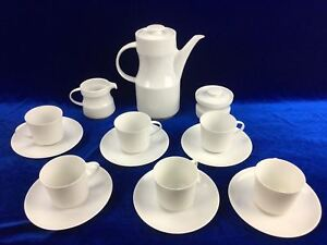 THOMAS Germany White 15 Piece Set of 6 Coffee Cup And Saucer Jug Sugar Milk
