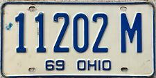 GENUINE 1969 Ohio USA License Licence Number Plate Tag 11202 M