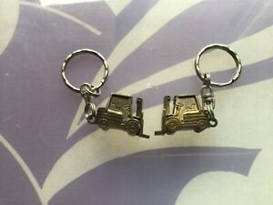 NEW JOB LOT BUNDLE 2 X FORKLIFT TRUCK SOLID KEYRINGS GREAT GIFT FATHERS DAY ETC