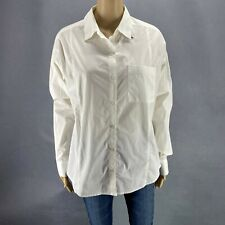 New Attention Women Button Down Shirt Career White Hi Low Relaxed Fit Career  M