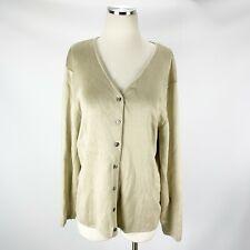 DONCASTER Large Silk STRETCH Cardigan Sweater Beige Tan
