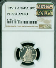 1965 CANADA 10 CENTS NGC PL68 CAMEO PQ MAC SOLO FINEST GRADE MAC SPOTLESS  *