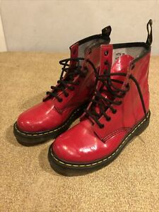 Dr Martens Doc's 1460W Candy Apple Red Patent Leather Sz 7 Air Wair