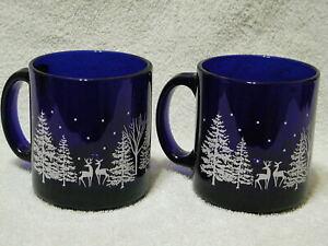 2 Libbey Cobalt Blue Glass Christmas Mugs Cups Reindeer and Pine Trees