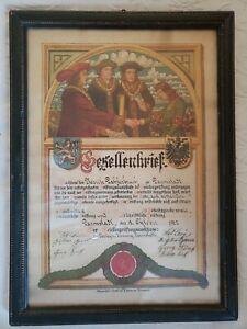 Antique 1905 German Journeyman's Butchers Guild Completion Certificate