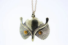 Vintage Art Deco style bronze owl necklace