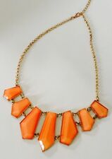 Stephan & Company Geometric Necklace Opaque Orange Cabochon Goldtone Chain $22