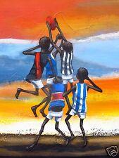 aboriginal art painting bush footie outback Andy Baker Australia COA