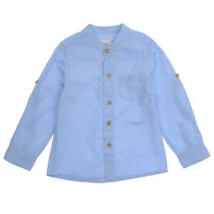 BLUE BOY'S  GRANDAD STYLE BASIC 100% COTTON SHIRT 2 3 4 5 6 7 YEARS
