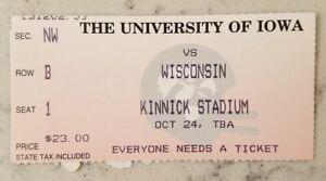 Iowa Hawkeyes Wisconsin Badgers Football Ticket Stub 10/24 1998 Ron Dayne TD