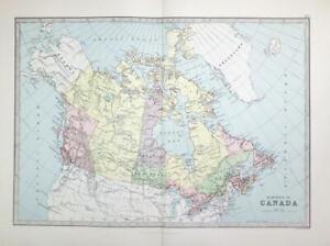 1883 Large Original Antique Colour Map DOMINION OF CANADA Greenland  (PHA)
