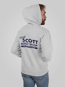 Keith Scott Grey Hooded Sweat Body Shop Adult Hoodie Rear Print Tree Hill Fan