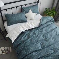 Starry Sky Printing Green Bedding Set Duvet Cover+Sheet+Pillow Case Four-Piece