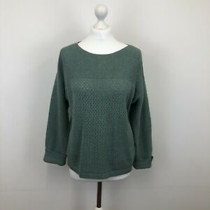 Fat Face Open Chunky Knit Jumper Sweater Pullover Green Sz 12