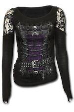 Spiral Direct Waisted Corset Shoulder Lace Top Black|skulls|bats|gothic L