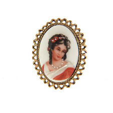 "Antique Victorian Limoges France Porcelain Brooch Pin 1.25x1.75"" Oval"